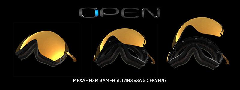 Механизм быстрой замены линз в масках Open
