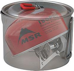 Примеры упаковки компактных набаллонных горелок MSR и Snow Peak внутри посуды