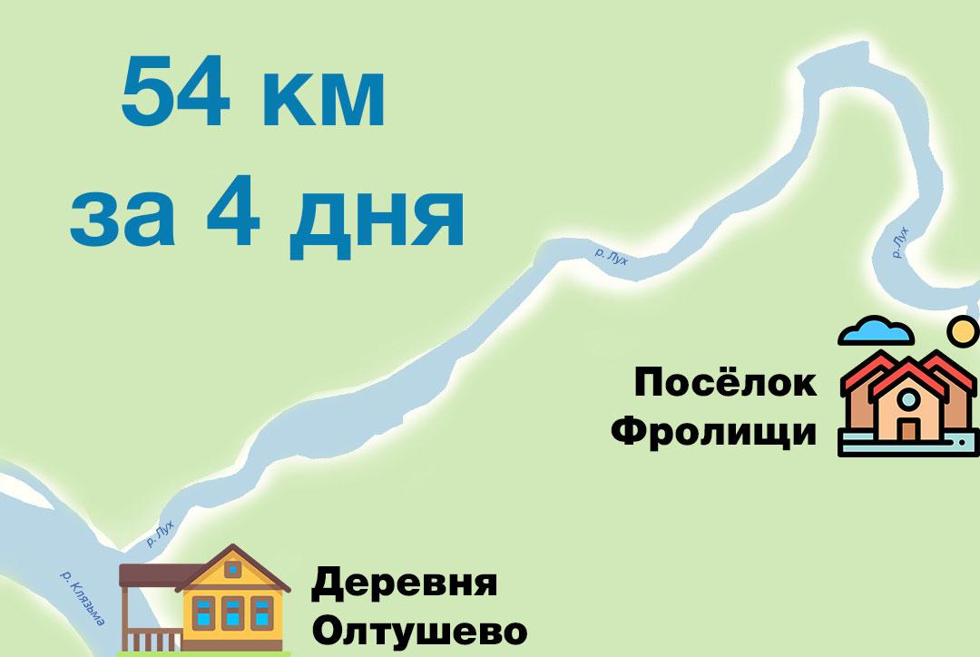 Нитка маршрута для сплава по реке Лух