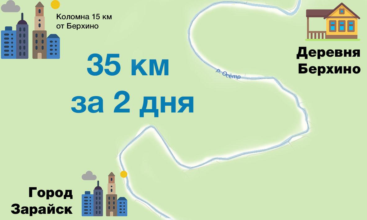 Нитка маршрута для сплава по реке Осётр