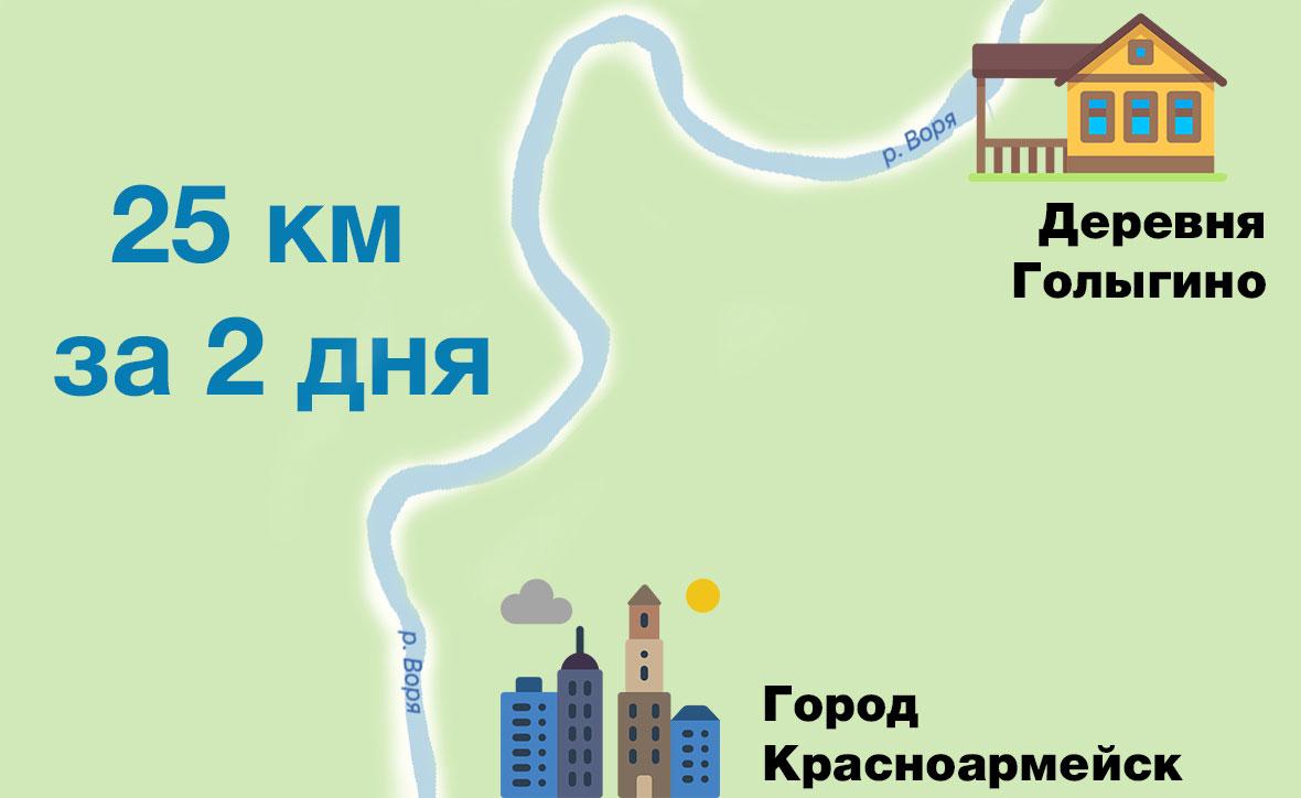 Нитка маршрута для сплава по реке Воря