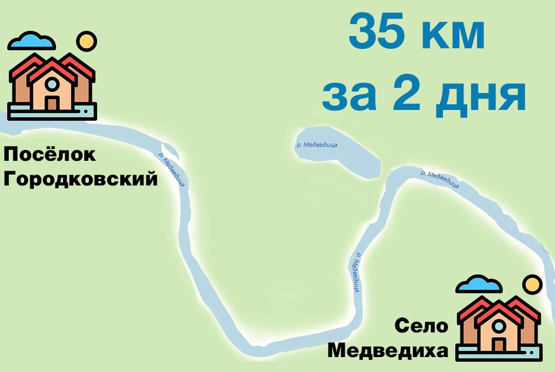 Нитка маршрута для сплава по реке Медведица