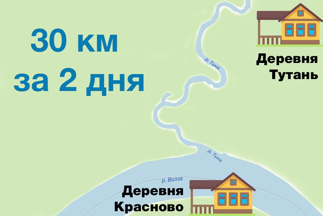 Нитка маршрута для сплава по реке Тьма