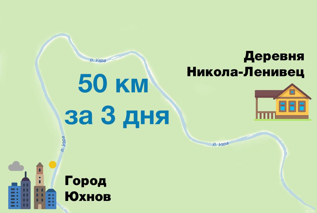 Нитка маршрута для сплава по реке Угра