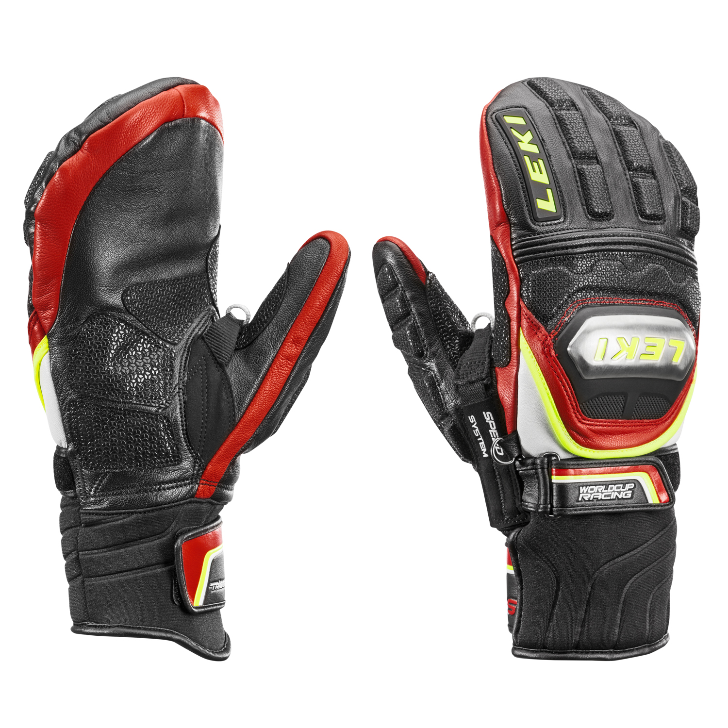 Варежки мужские Leki Worldcup Race TI S Mitten Speed System Black/Red/White/Yellow - Фото 1 большая