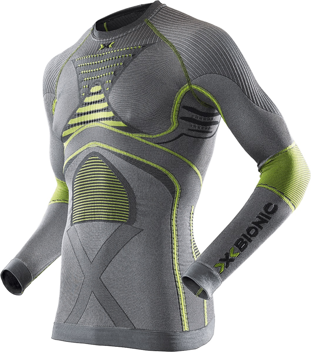Футболка мужская X-Bionic Radiactor EVO Shirt Long Sleeves Round Neck Iron/Yellow - Фото 1 большая