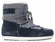 Сапоги женские Moon Boot Far Side Low Fur Tartan Navy Blue