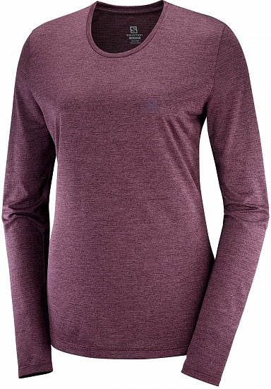 Футболка женская Salomon Agile LS Mauve /Winetasting/Heather - Фото 1 большая