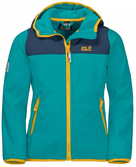 Куртка детская Jack Wolfskin Fourwinds Green Ocean - Фото 1 большая