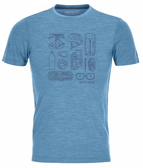 Футболка мужская Ortovox 120 Cool Tec Puzzle T-Shirt Blue Sea Blend - Фото 1 большая