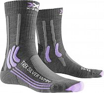 Носки женские X-Socks Trek Silver Grey Melange/Bright Lavender